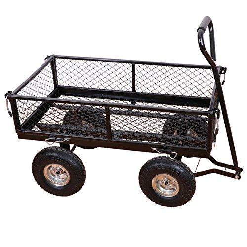 Yardeen Steel Wagon Cart Laguna Heavy Duty Garden Steel Wheelbarrow Trailer Outdoor Lawn Yard Large Cart Trolley Color Black