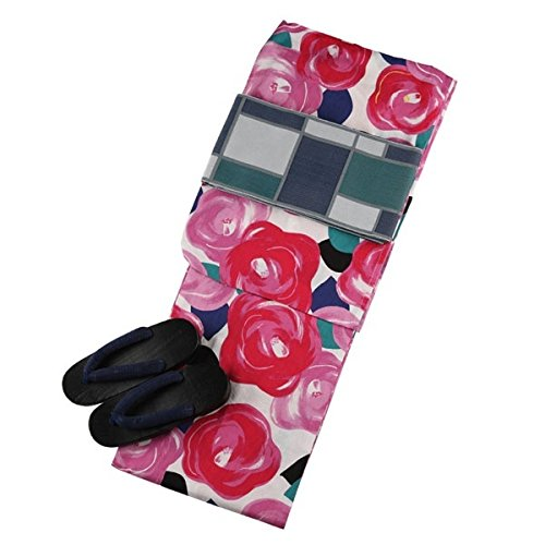 クリーム(C.R.E.A.M) 平子理沙 浴衣 セット レトロ 浴衣セット 大正ロマン 薔薇 白 ピンク 3点 レディース ゆかた B07FFCXTC3  White(01) F