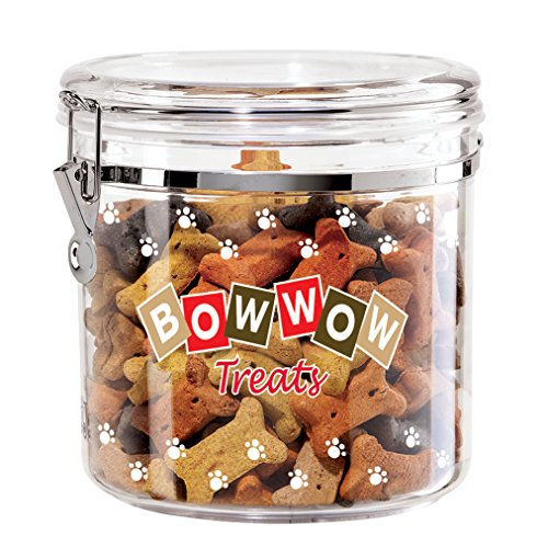 (Oggi 8316 Jumbo Acrylic Airtight Pet Treat Canister with Bow Food Storage Container, 130 Oz, Bowwow Decal)