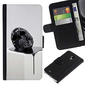 Stuss Case / Funda Carcasa PU de Cuero - Cráneo de fusión 3D Resumen muerte Oleo - Samsung Galaxy S4 Mini i9190