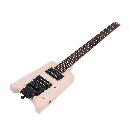 ammoon Inconcluso Kit de Bricolaje de la Guitarra Eléctrica Diseño Especial Sin Cabezal Cuerpo de Tilo