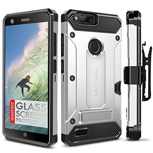 ZTE Blade Z Max Case, Evocel [Explorer Series Pro] Premium Dual Layer Credit Card Case with Glass Screen Protector & Magnetic Kickstand for ZTE Sequoia/ZTE Blade ZMax (Z982), Silver