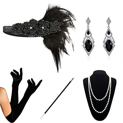 HAMIST 1920s Accessories Set Flapper Costume for Women Headband Gloves Cigarette Holder Necklace (1920Set5-5808)