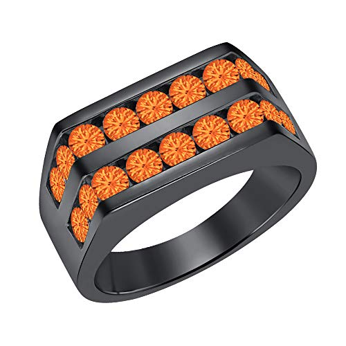 Orange Sapphire Wedding Set - Men's 14k Black Gold Plated Channel Set Round Orange Sapphire Wedding Band Anniversary Ring 925 Sterling Silver