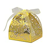 KEIVA Pack of 70 Laser Cut Rose Candy Boxes, Favor Boxes 2.5''x 2.5''x 3.1'', Gift Boxes for Bridal Shower Anniverary Birthday Party Wedding Favor (Metallic Gold)