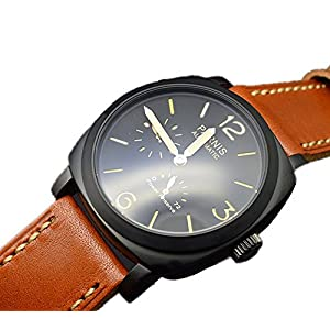 Parnis Military Seagull Movement Power Reserve Automatic Winding Men's Watch Black PVD case