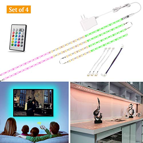 Multi-Color LED Strip Light Kit, 4 Pre-cut Lights Bar With Remote and Adapter, 9.8 ft Color Changing LED for Under Cabinet Lighting, 49-70 Inch TV Bias Lighting,Home Theater Decor,RGB Backlight