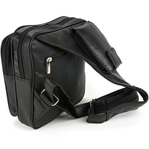 Cross Organizer Body Bag Purse Travel Black Leather Messenger 1qdpwBd