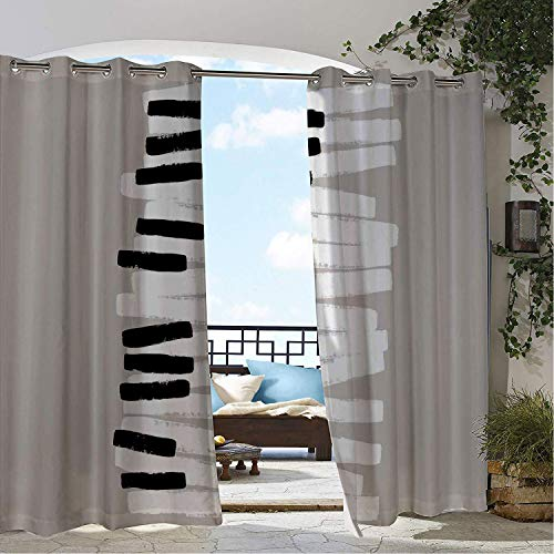 Linhomedecor Outdoor Waterproof Curtain Piano Doodle Style Keyboard Pattern Abstract Contemporary Design Classical Music Black White Pale Grey pergola Grommet Free Curtain 120 by 72 inch