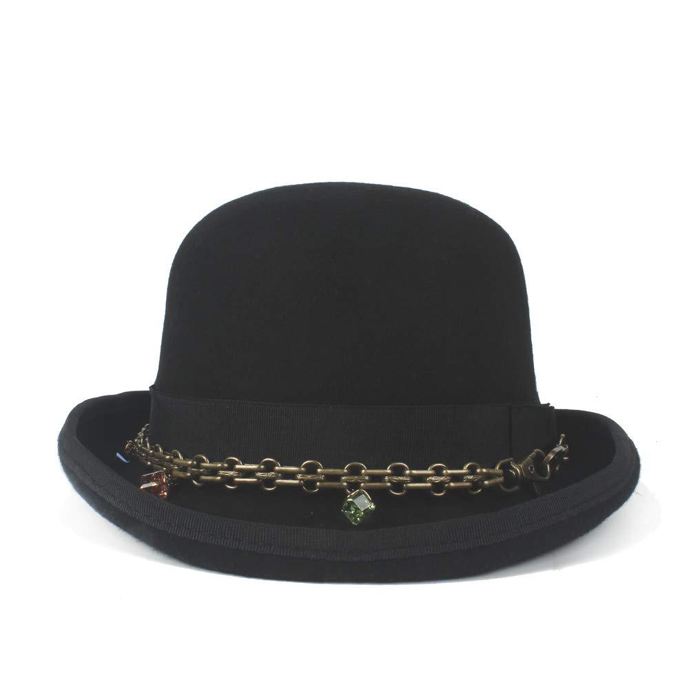 HYF Retro Men Women Unisex Steampunk 100/% Wool Bowler Hat Elegant Crushed Dome Hat Luxury Soft Hat Party Hat