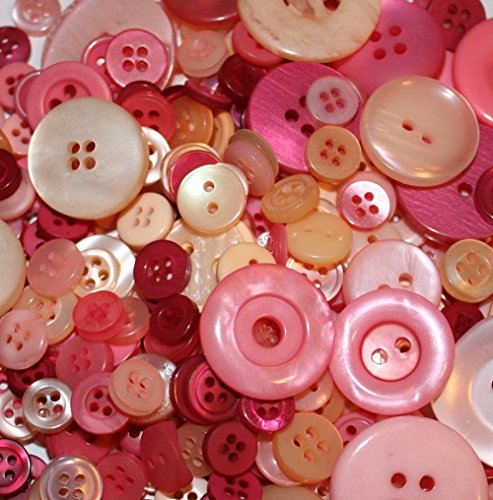 """Fancy & Decorative {Assorted Sizes w/ 1, 2, 4 Holes} 100 Pack of """"Flat & Shank"""" Sewing & Craft Buttons Made of Acrylic Resin w/ Vintage Outdoor Girly Rose Themed Elegant Design {Pink, Red, (Vintage Rose Button)"""