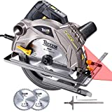 TECCPO Circular Saw with Laser, Corded Saw 1500W, 5500 RPM, 2 Blades(7-1/4