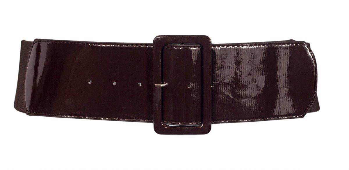 eVogues Women's Wide Patent Leather Buckle High Waist Fashion Belt B20130101A