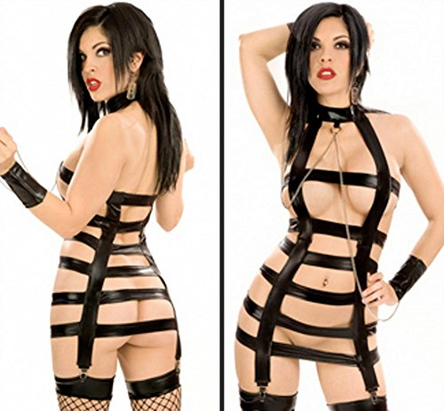 ZOYOL Women Sexy Body suit Faux Leather exposing see through lingerie DS costumes uniforms temptations black , black (See Through Costumes)