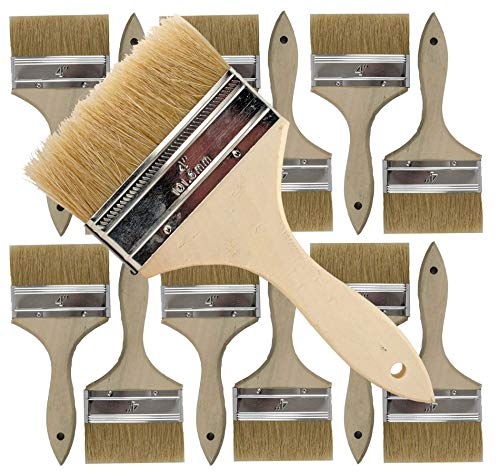 4 Inch Brush - 12 Pack of Single X Thick Paint and Chip Paint Brushes for Paint, Stains, Varnishes, Glues, Acrylics and Gesso. (4