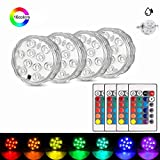 Submersible LED Light(4pcs), RGB Multi Color Waterproof Battery Remote Control Powered Light Controller for Hot Tub Fountain Vase Swimming Pool Decoration Pond Garden Party Weeding Halloween Christmas