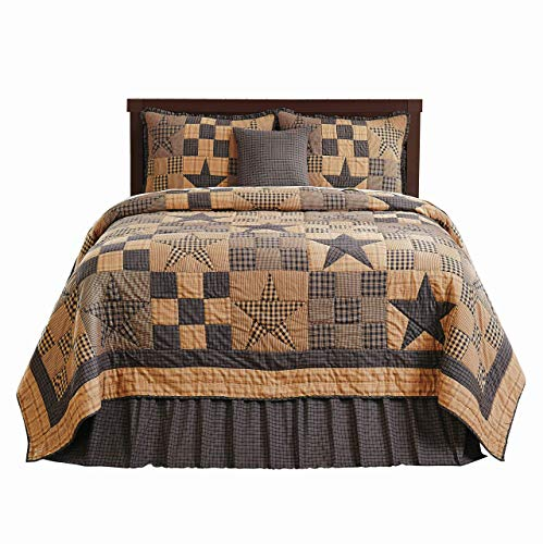 (The BitLoom Co. Primitive Country, Star Patch Blue King 5 Piece Quilt Set)