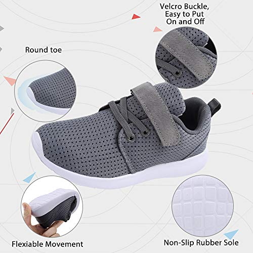 TOEDNNQI Boys Girls Sneakers Kids Lightweight Breathable Strap Athletic Running Shoes for Little Kids//Toddler