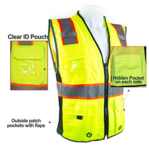 RK Safety P6612 Class 2 High Visible Two Tone Reflective Strips Breathable Mesh Vest, Pockets Harness D-Ring Pass Thru, ANSI/ISEA, Construction Motorcycle Traffic Emergency (Lime, Medium) by New York Hi-Viz Workwear (Image #4)