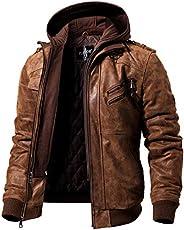 FLAVOR Men's Real Leather Jacket Removable Hoodie Brown Genuine Suede Pig