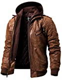 FLAVOR Men's Leather Motorcycle Jacket with Removable Hood Brown Pigskin (5X Big Tall, Brown)