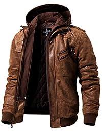 FLAVOR Men's Real Leather Jacket Removable Hoodie Brown Genuine Suede Pigskin