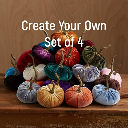 (Velvet Pumpkins Create Your Own Set of 4, Fall decoration, modern rustic wedding decor, hostess gifts, best selling items)