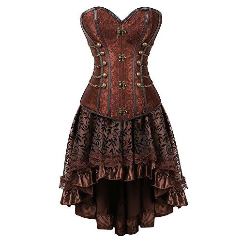 frawirshau Corset Dress Women's Steampunk Clothing Vintage Halloween Costume Gothic Corset Skirt Set Brown 2XL