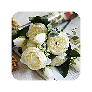 5 Heads Artificial Rose Flower Real Touch Silk Fake Flowers for Wedding Marriage Holding Bouquet Flores Home Garden Decoration 17