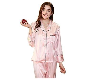 Pakamo Pijamas de satén de seda de pareja Homewear lujoso Ropa de dormir para mujeres Spring