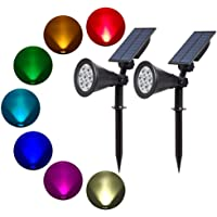 T-SUN Outdoor Solar Lights, 7 LED Color-Changing Solar Garden lights, 2-in-1 Multi Use Solar Spotlights, Auto-on At Night/Auto-off By Day, 180 ngle Adjustable, Decorative Lights for Outdoor, Garden, Lawn, Pathway, Party & Christmas.(2 Pack)(AU Stock)