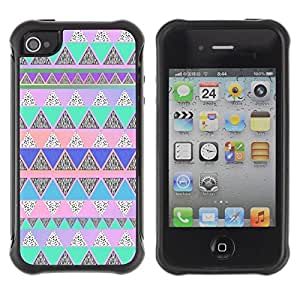 Suave TPU GEL Carcasa Funda Silicona Blando Estuche Caso de protección (para) Apple Iphone 4 / 4S / CECELL Phone case / / Native American Pattern Pink Teal /