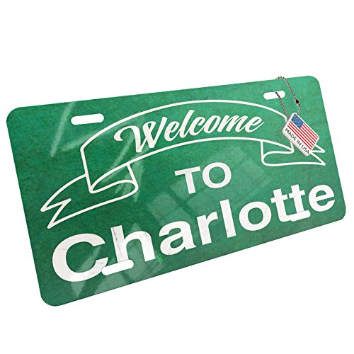 NEONBLOND Metal License Plate Green Sign Welcome to Charlotte -