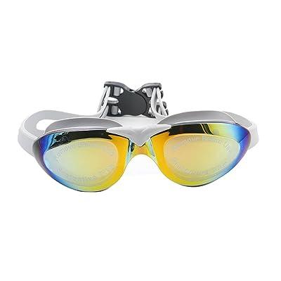 Sudook Galvanoplastie Multicolore anti-buée PC UV pour adulte Lunettes de natation Cadre Big objectif