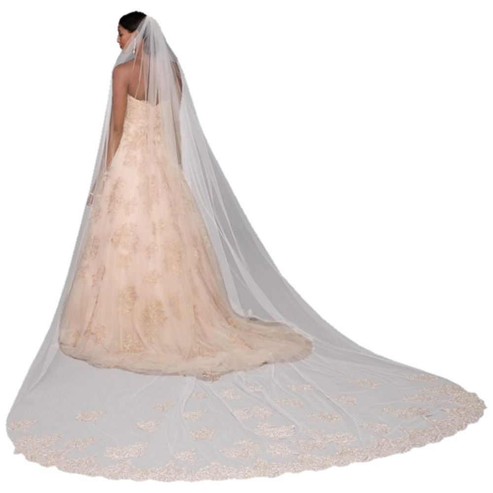 Rose Gold Embroidered Cathedral Veil Style V2018, Rose Gold