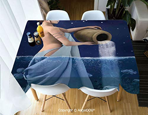 - AngelDOU Fashion Durable Polyester Printed Tablecloth Aquarius Lady with Pail in The Sea Water Signs Saturn Mystry at Night Stars Decorative for Kitchen Dining Room Outdoor campin,W60xL104(inch)