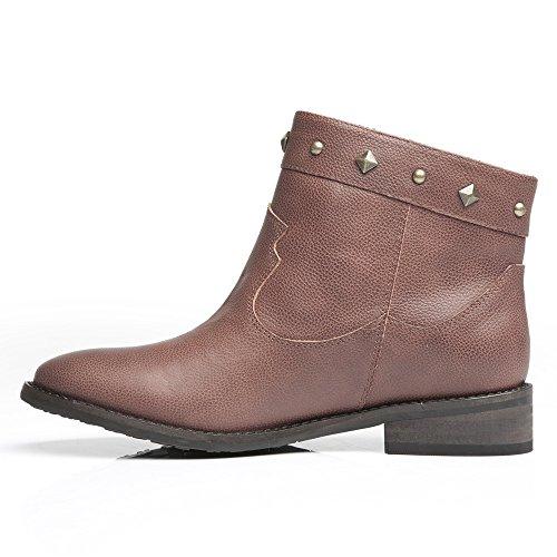 LiKing 01-005 Damen Cowboy Biker Boots Echtleder Braun