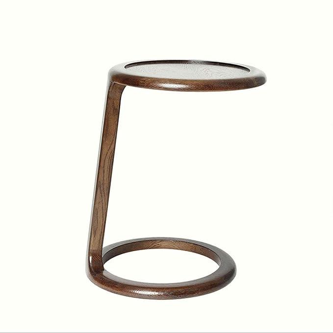 Amazon.com: HY - Mesa auxiliar de madera redonda para salón ...