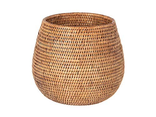 Honey Rattan (La Jolla Coco Rattan Planter and Bowl, Honey-Brown, Large)