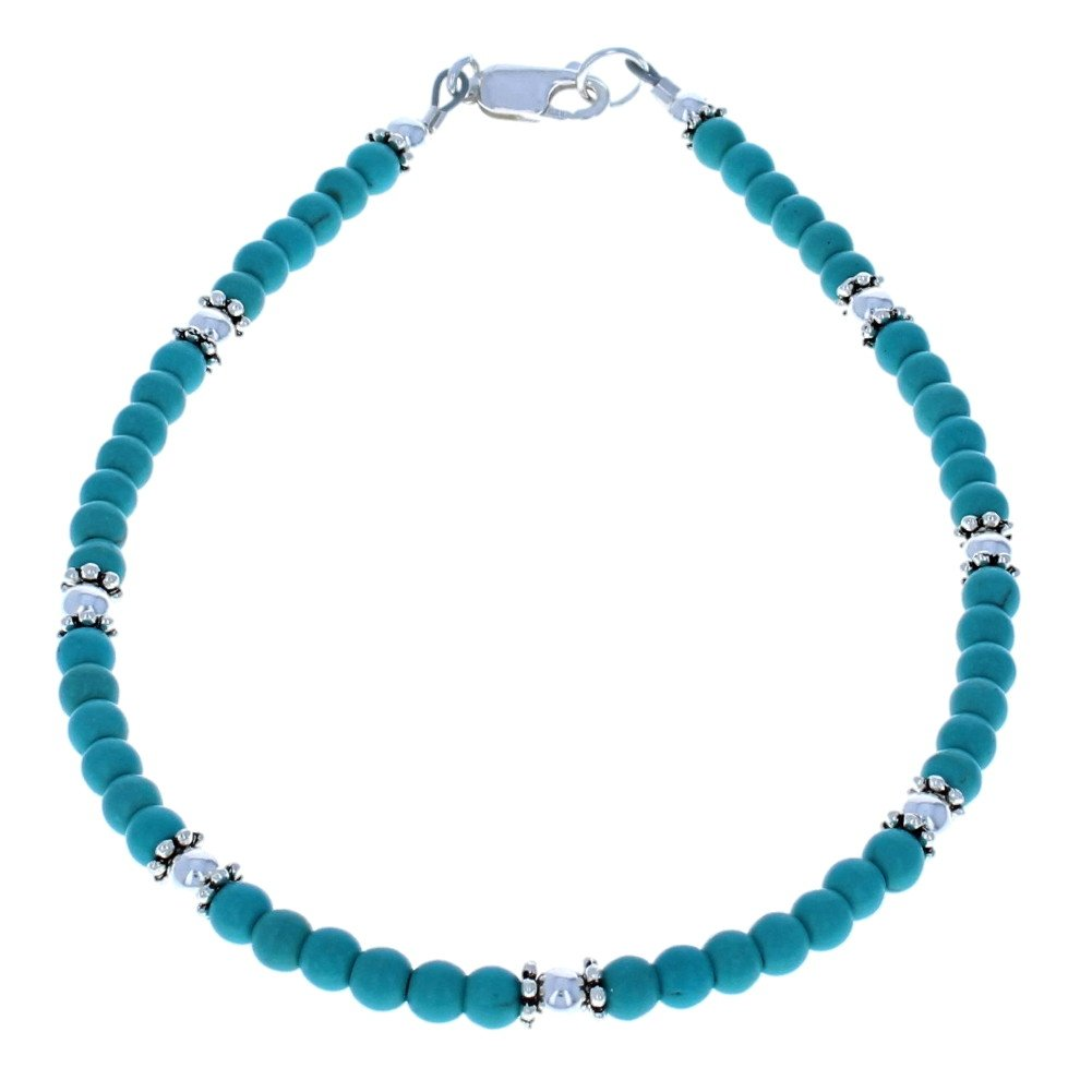 Timeless-Treasures Womens Turquoise Magnesite & Sterling Silver Ladies Beaded Gemstone Anklet with Daisies - 11''