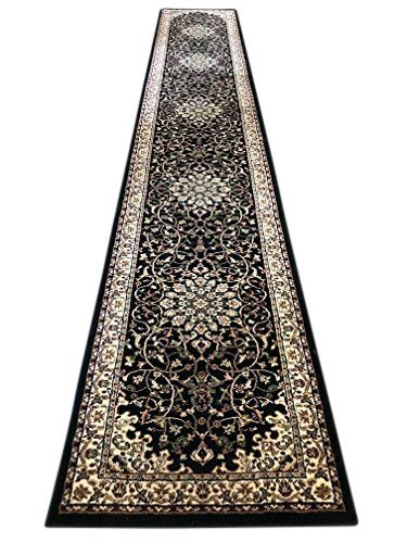 (Deir Debwan Traditional Long Persian Runner 330,000 Point Oriental Area Rug Black Design 603 (31 Inch X 15 Feet 8 Inch))