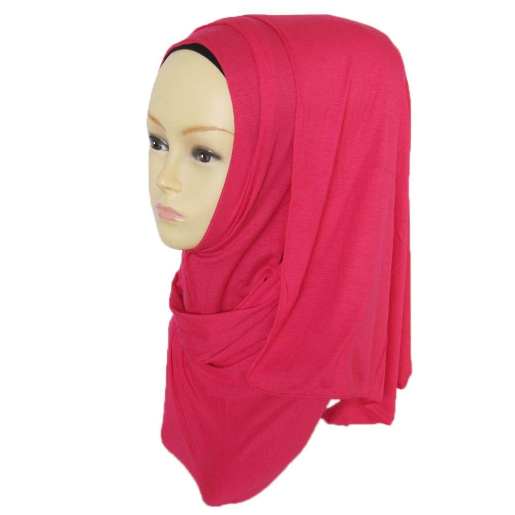DZT1968 Women daily Cotton Sweat Long Scarf Muslim Hijab Arab Wrap Shawl Headwear (Hot Pink)