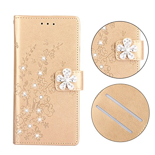 Maoerdo Galaxy S6 Case,Embossed Plum Flowers Wallet [Bracket Chuck] 3D Handmade Bling Crystal Diamond PU Leather Shockproof Protective Cover for Samsung Galaxy S6 - Golden