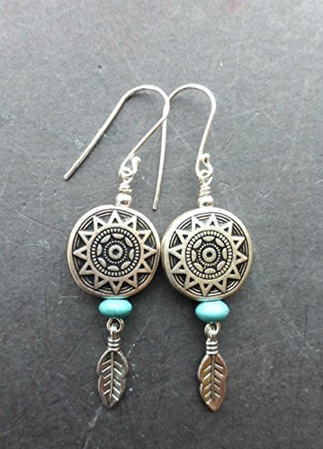 Turquoise stone, feather charms, basket bead and sterling silver earrings. Boho, Bohemian, southwest. Handmade jewelry, jewellery. Fashion, - Basket Silver Sterling Charm