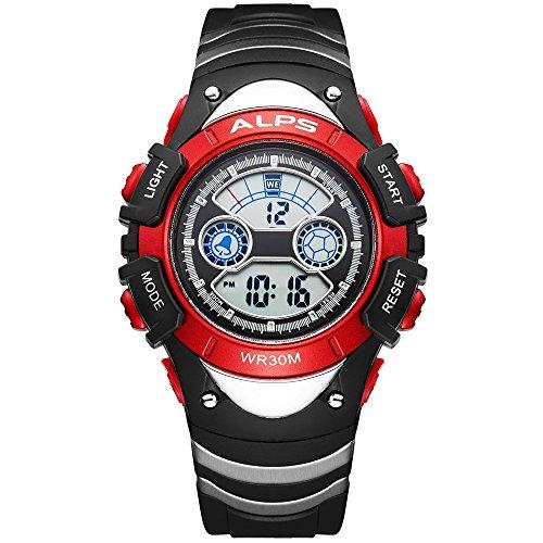 ALPS Kids Boys Girls MultiFunction Digital LED Waterproof Sport Watch (Red)