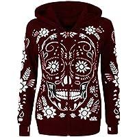 Londony♥‿♥ Women's Comfy Skull Print Zipper Jacket Long Sleeve Cowl Neck Pullover Hooded Sweatshirts Top