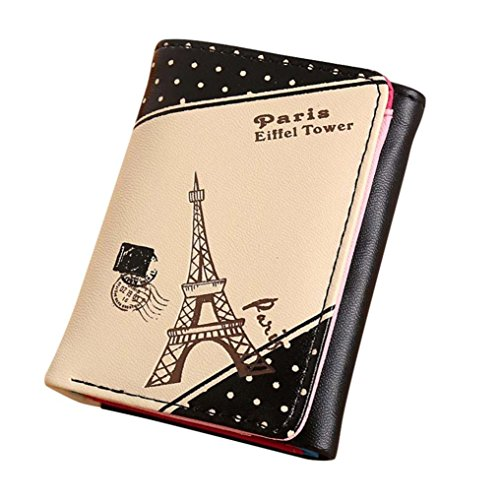 Dacawin girls Paris Eiffel Tower Short Wallet Card Holders Handbag