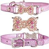 WwWSuppliers Cute PU Leather Bling BONE RHINESTONES CHARM Puppy Dog Adjustable Diamante Fashion Elegant Collar (Extra Small, Metallic Pink)