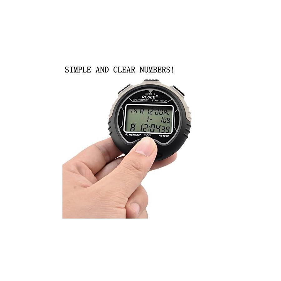 Petforu Stopwatch Timer Waterproof, Electronic Digital Stopwatch [60 MEMORY], Easy to Read Display