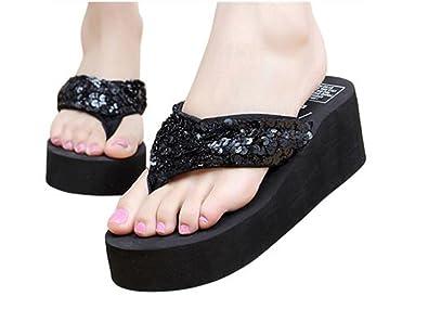6e2b63c1d3f2 D-Sun Platform Sandals Flip Flops Wedge Sequin for Women Beach Bubble  Sandals (5